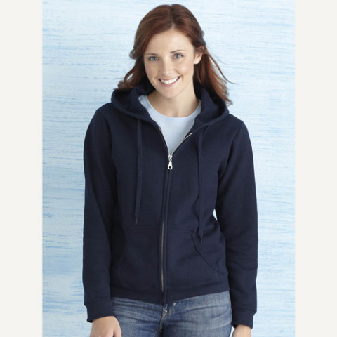 Ladies zipped hoody sweatshirt