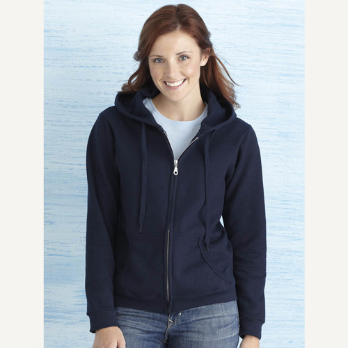 Ladies zipped hoody sweatshirt