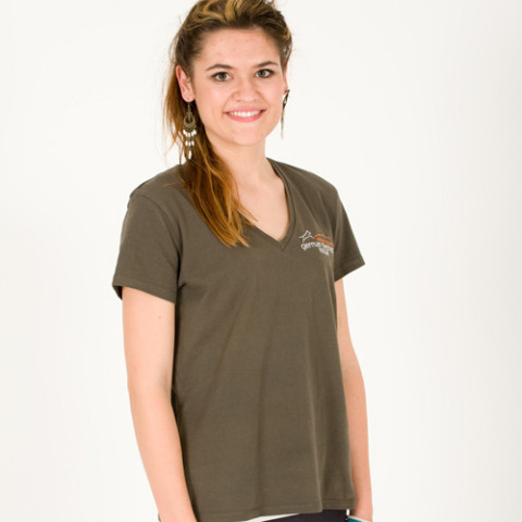 ladies v-neck t-shirt khaki